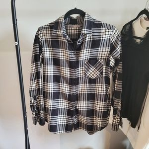 Black/White Cotton Plaid Flannel